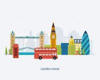 Viaje plano del diseño de los iconos de Londres, Reino Unido stock de ilustración