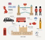 Viaje plano del diseño de los iconos de Londres, Reino Unido Imagen de archivo libre de regalías