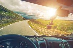 Viaje por carretera escénico de rv foto de archivo