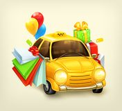 Viaje que hace compras en el coche Imagen de archivo libre de regalías