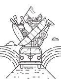 Viaje retro van illustrations Foto de archivo libre de regalías
