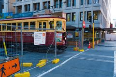 Viaje rojo de la ciudad de la tranvía en Christchurch, Nueva Zelanda Fotografía de archivo libre de regalías