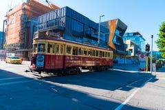 Viaje rojo de la ciudad de la tranvía en Christchurch, Nueva Zelanda Imagen de archivo