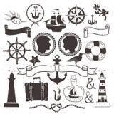 Viaje romántico del mar Elementos dibujados mano del vintage en náutico Imagen de archivo libre de regalías