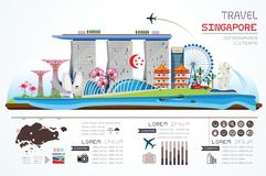 Viaje Singapur de Infographics foto de archivo