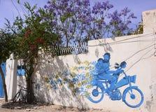 Viaje Túnez - arte de la calle de la pintada de la isla de Djerba foto de archivo libre de regalías