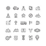 Viaje, tráfico de la carretera, iconos lineares del vector de la ubicación fijados stock de ilustración