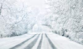 Viaje a través de Siberia Camino blanco fotos de archivo