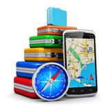 Viaje, turismo y concepto de la navegación GPS ilustración del vector