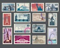 Viaje, vacaciones, sello con arquitectura y señales del mundo Fotos de archivo