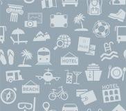 Viaje, vacaciones, turismo, vacaciones, modelo inconsútil, azul gris, color, vector Foto de archivo