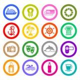 Viaje, vacaciones y reconstrucción, iconos fijados stock de ilustración