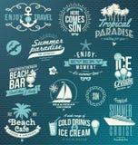 Viaje y emblemas y símbolos de las vacaciones Imagenes de archivo