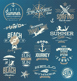 Viaje y emblemas y símbolos de las vacaciones Imágenes de archivo libres de regalías