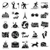 Viaje y viaje a los iconos del vector muy de moda y útiles para los proyectos que viajan stock de ilustración
