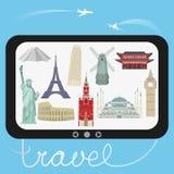 Viaje y turismo Ejemplo del vector con las señales arquitectónicas del mundo libre illustration