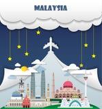 Viaje y viaje globales de la señal del fondo del viaje de Malasia adentro stock de ilustración