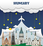 Viaje y viaje globales Inf de la señal del fondo del viaje de Hungría Imágenes de archivo libres de regalías