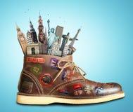 Viaje, zapatos fotografía de archivo