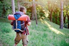 Viajero adulto joven que camina en un bosque para un viaje Fotos de archivo