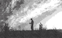Viajero - aguafuerte ilustración del vector