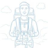 Viajero con el ejemplo del vector de la mochila ilustración del vector