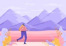 Viajero con la mochila en naturaleza stock de ilustración