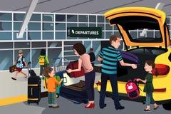 Viajero de la familia fuera del aeropuerto ilustración del vector