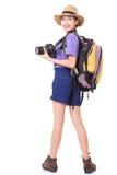 Viajero de la mujer con una cámara Fotografía de archivo
