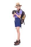Viajero de la mujer con una cámara Imagen de archivo