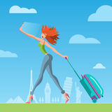 Viajero de la mujer con una maleta libre illustration