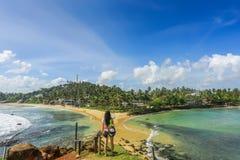 Viajero de la mujer en la isla Fotografía de archivo