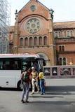 Viajero del caucásico del transporte del viaje del autobús Imagen de archivo libre de regalías
