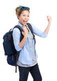 Viajero emocionado de la mochila de la mujer Imágenes de archivo libres de regalías