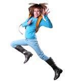Viajero feliz del schoolgirlor que ejercita y que salta Fotografía de archivo