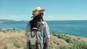 Viajero femenino activo del tiro medio en gafas de sol y sombrero que admira el paisaje marino que aumenta las manos almacen de metraje de vídeo