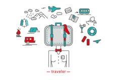 Viajero, iconos ilustración del vector
