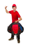 Viajero joven con la mochila aislada en blanco Imagen de archivo
