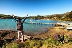 Viajero joven que admira la vista de Akaroa, Nueva Zelanda imagenes de archivo