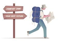 Viajero que camina con el sombrero y la mochila que miran un mapa Posts de muestra de madera con el mensaje de motivación Imágenes de archivo libres de regalías