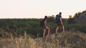 Viajeros con las mochilas almacen de metraje de vídeo