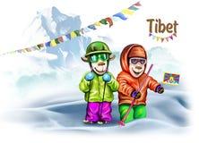 Viajeros en Tíbet ilustración del vector
