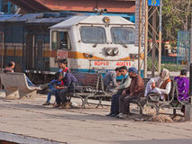 Viajeros ferroviarios indios Imágenes de archivo libres de regalías