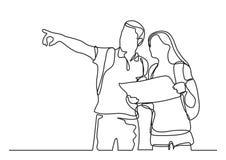 Viajeros que aprenden el mapa - dibujo lineal continuo stock de ilustración