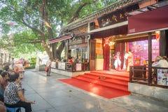 Viajeros que miran ópera del Cantonese en un parque Fotos de archivo libres de regalías