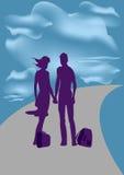 Viajes Él y ella Imagen de archivo