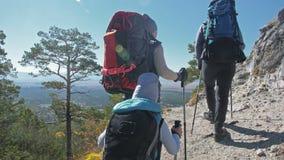 viajes de la familia Ambiente de la gente por las montañas, ríos, corrientes Los padres y los niños caminan usando emigrar polos  almacen de metraje de vídeo