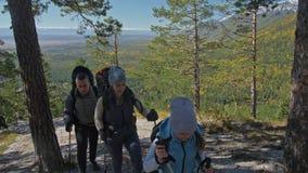 viajes de la familia Ambiente de la gente por las monta?as, r?os, corrientes Los padres y los ni?os caminan usando emigrar polos  metrajes