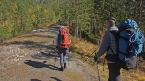viajes de la familia Ambiente de la gente por las monta?as, r?os, corrientes Los padres y los ni?os caminan usando emigrar polos  almacen de metraje de vídeo
