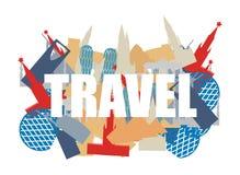 Viajes El texto en fondo siluetea atracciones de países stock de ilustración